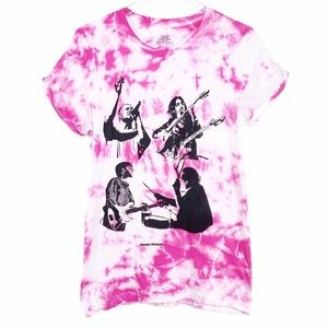 IMAGINE DRAGONS pink white tie dye T-shirt S
